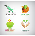 set of eco food organic green logos vector image