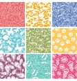 Set of nine animal seamless patterns backgrounds vector image