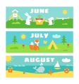 Summer Months Calendar Flashcards Set Nature vector image
