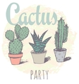 Vintage cactus print for t-shirt with slogan vector image