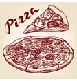 Italian pizza set hand drawn llustration vector image vector image