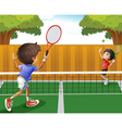Two boys playing tennis vector image vector image