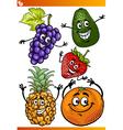 funny fruits cartoon set vector image vector image