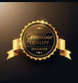 genuine quality award golden label badge design vector image