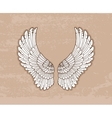 Pair of white wings in vintage style vector image vector image