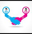 handshake between educated men and women vector image vector image
