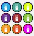 slot machine icon sign Nine multi colored round vector image