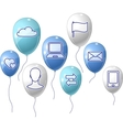 Social media communication background with flying vector image vector image