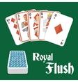 Poker hand royal flush vector image