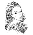 pretty elegant boho girl with floral wreath vector image