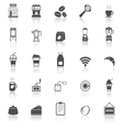 Coffee shop icons with reflect on white background vector image