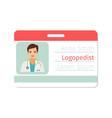 female logopedist medical specialist badge vector image vector image