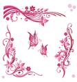 Flowers butterflies pink vector image vector image
