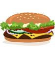 drawing of hamburger with cheese tomatoes vector image