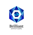 Blue shiny polygonal hexagon diamond icon vector image