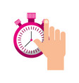 hand holding chronometer control countdown image vector image