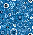 Seamless pattern with stylized flowers over blue vector image