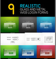 set of realistic transparent glass and metal web vector image