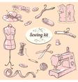 Sewing kit set vector image