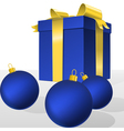 blue christmas gift box and balls vector image vector image