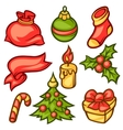 Set of Merry Christmas holiday symbols and object vector image