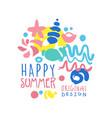 happy summer logo template original design vector image vector image