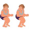 Happy cartoon man standing in underwear holding vector image