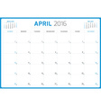 Calendar Planner 2016 Design Template April Week vector image