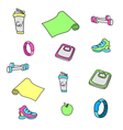 fitness and gym doodles equipment set vector image