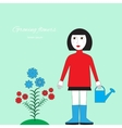 Floriculture picture Woman with watering can vector image