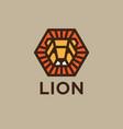logo lion golden head with rays like sun vector image