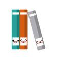 set of books cute kawaii cartoon vector image