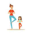 smiling woman and girl doing yoga in a vrksasana vector image