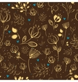 Graceful Golden Flowers Brown Seamless Pattern vector image