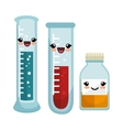 set cartoon chemical laboratory test tube vector image