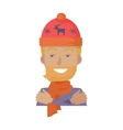 Hat Young Man in Knitted Red Headwear with Deer vector image