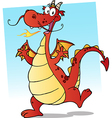 Happy Red Fire Breathing Dragon Dancing vector image