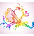 abstract heart wave vector image vector image