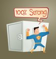 superhero guarding a deposit box vector image vector image