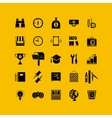 Black flat icons set Business object office tools vector image