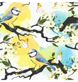 Tomtit on cherry branch seamless vector image vector image