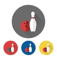 Bowling skittle and ball icons vector image