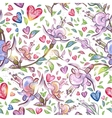 Abstract seamless pattern with flowers and hearts vector image
