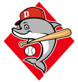 dolphin baseball mascot vector image