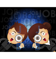 man and woman with magnifying glass search for job vector image