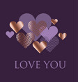 violet and rose gold heart vector image