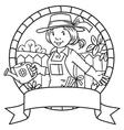 Coloring book of funny woman gardener Emblem vector image