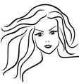 abstract young woman with flowing hair vector image