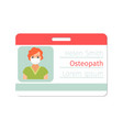 female osteopath medical specialist badge vector image vector image