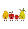 white background of colorful set fruits pear vector image